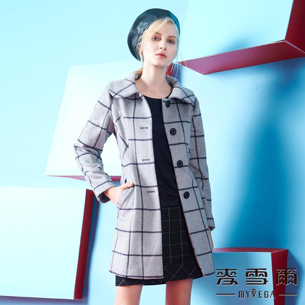 麥雪爾 格紋排釦羊毛外套