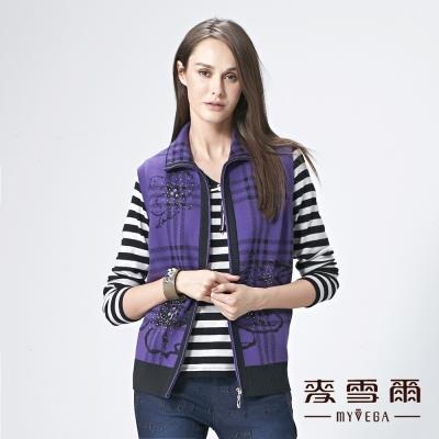 麥雪爾 花朵格紋加厚純棉針織背心-紫