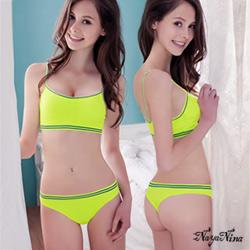 丁字褲 撞色條紋低腰內褲S-XL(螢光綠) Naya Nina