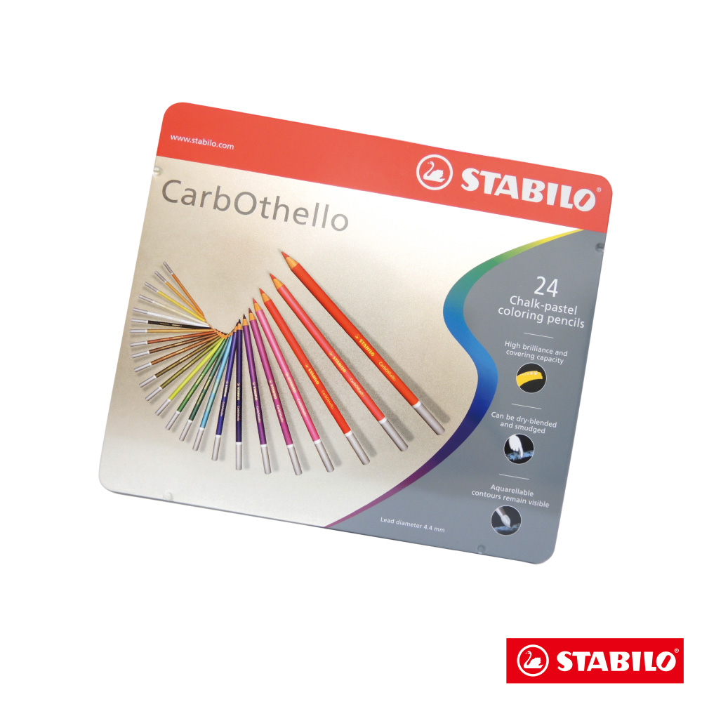 STABILO 繪畫系 - CarbOthello 4.4mm粉彩筆 24色金屬鐵盒裝