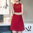洋裝 愛心蕾絲鏤空無袖改良式旗袍洋裝 N2