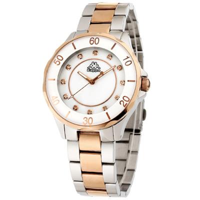 Kappa 經典華麗不鏽鋼時尚腕錶-白母貝x銀x玫瑰金/40mm