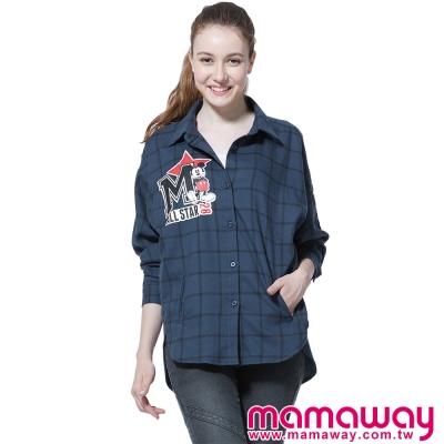 孕婦裝-哺乳衣-迪士尼米奇貼布繡孕哺格紋平織衫-共二色-Mamaway