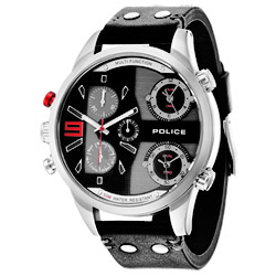 POLICE 時空之戰日期計時腕錶-銀框x黑52mm