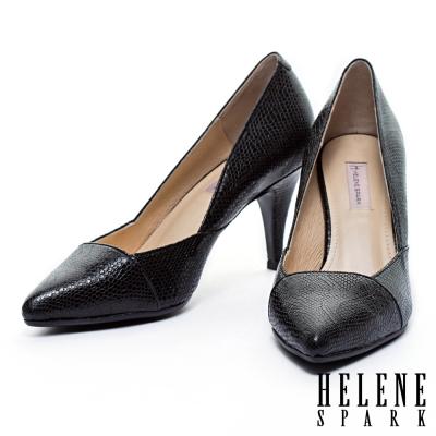 高跟鞋 HELENE SPARK 俐落剪裁蛇紋牛皮尖頭高跟鞋-黑