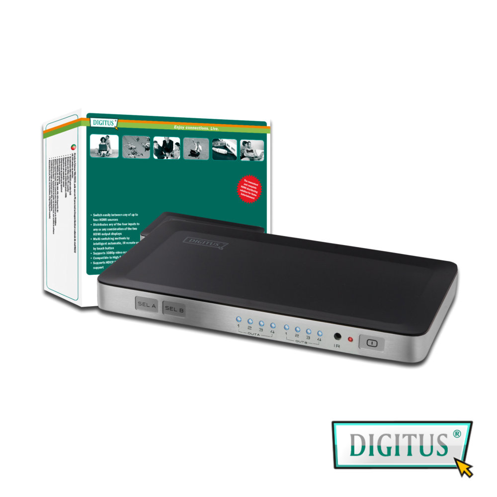 曜兆DIGITUS HDMI ~DS-48300四入二出切換器(付遙控器與電源)