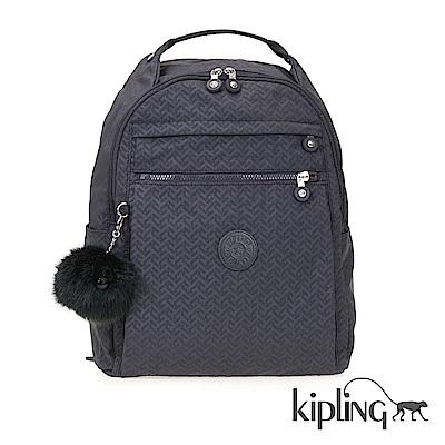 Kipling 後背包 深藍圖騰素面-大