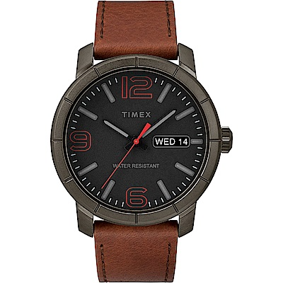 TIMEX 天美時 風格系列 經典潮流大數字手錶 黑x咖啡色/44mm