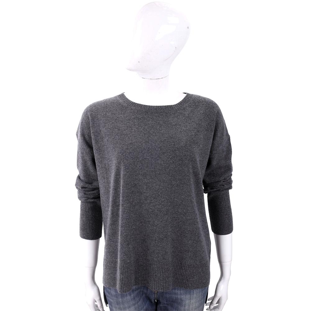 MARELLA 喀什米爾坑條羅紋領灰色針織羊毛衫
