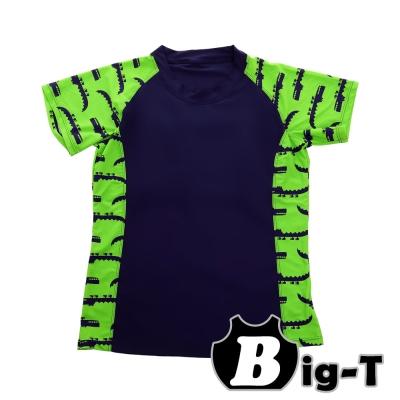 泳衣束胸-短袖鱷魚拼色泳衣褲組-M-3XL-BIG