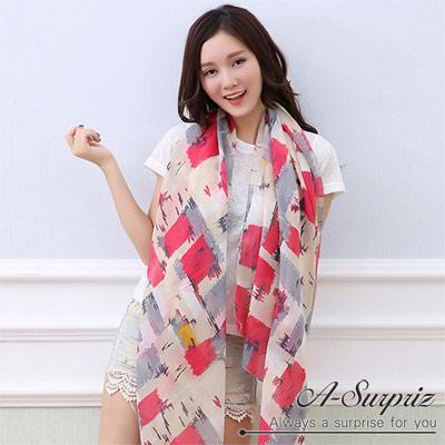 A-Surpriz 渲染彩繪加大加寬韓國棉圍巾(玫紅)
