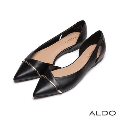ALDO-原色魅力不對稱金屬細線尖頭低跟鞋-尊爵黑色