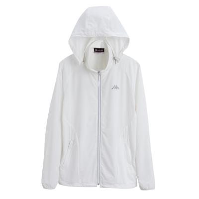 KAPPA義大利 女慢跑單層風衣外套(可拆帽) 白