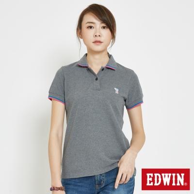 EDWIN 復古小E字POLO衫-女-灰色