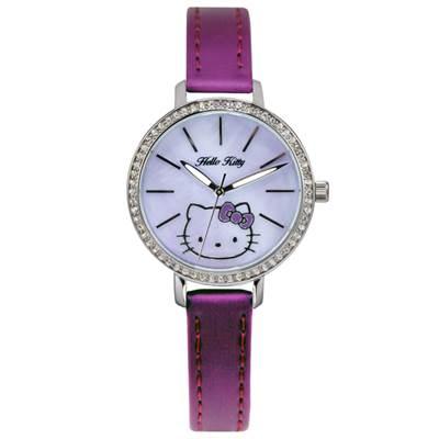 HELLO KITTY凱蒂貓晶鑽立體錶 深紫/淡紫面/34mm