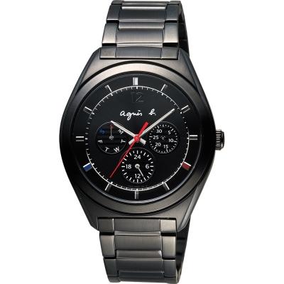 agnes b. Solar 驚豔巴黎太陽能日曆腕錶-黑/40mm