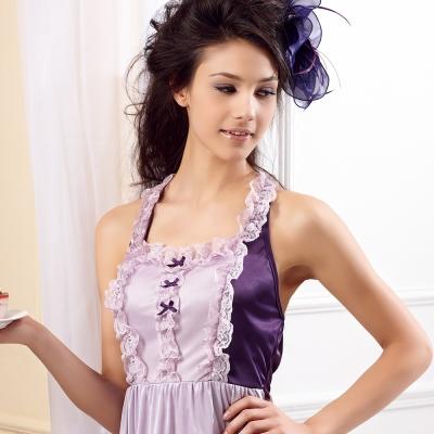 【羅絲美】嘉年華派對細肩帶洋裝睡衣 (夢幻紫)