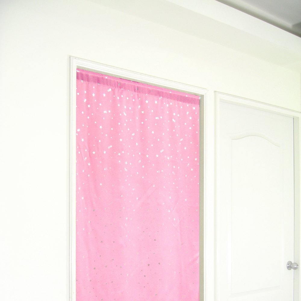 布安於室-銀色星空遮光長門簾-粉色-寬100x高130cm