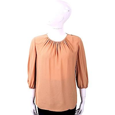ELISABETTA FRANCHI 純色極簡粉橘色抓摺細節雪紡上衣