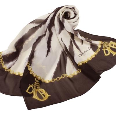 Christian Dior 渲染紋鎖鏈飾邊大領巾-咖啡