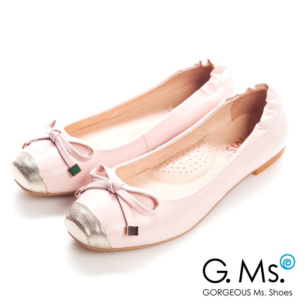 【G.Ms.】經典Dolly‧金屬拼接方頭蝴蝶結全平底娃娃鞋‧甜蜜粉