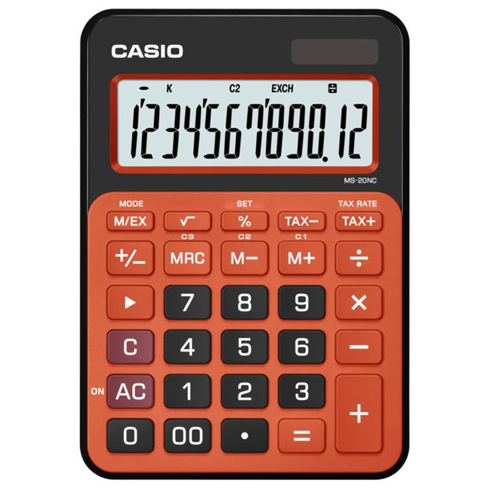 CASIO 12位數時尚多彩桌上型計算機(MS-20NC-BRG)黑/橘