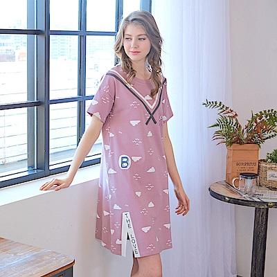 睡衣 海鷗水手風短袖連身睡衣 (R75052-7 豆沙粉) 蕾妮塔塔 @ Y!購物