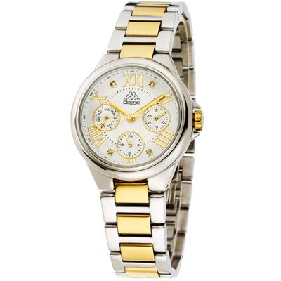 Kappa 羅馬三眼不鏽鋼時尚腕錶-銀x金/33mm