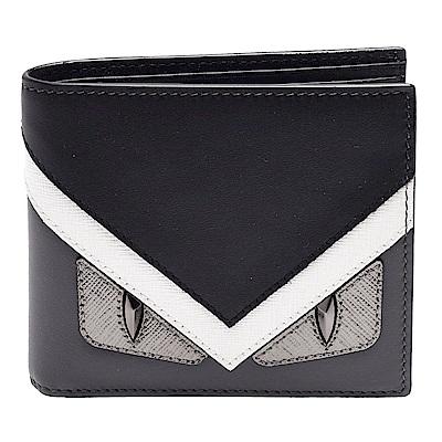 FENDI 經典BAG BUGS怪獸造型雙色小牛皮摺疊八卡短夾(黑X灰)