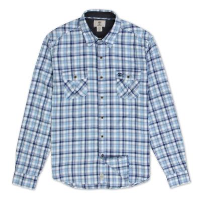 Timberland 男款藍紫色格紋輕量法蘭絨長袖襯衫