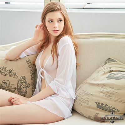 大尺碼Annabery純白透視柔紗罩衫二件式性感睡衣 白 L-2L Annabery
