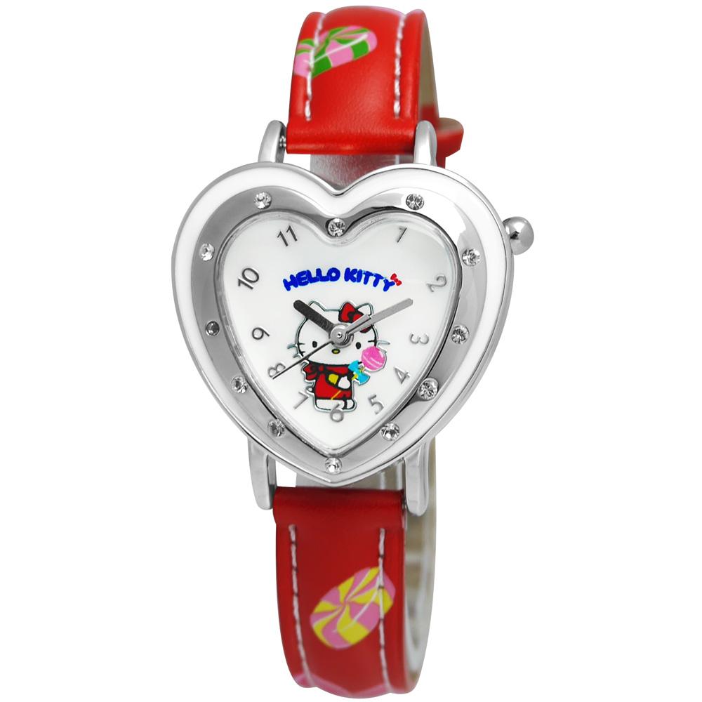 Hello Kitty 甜蜜時刻 愛心棒棒糖皮革腕錶-白面x紅/32mm