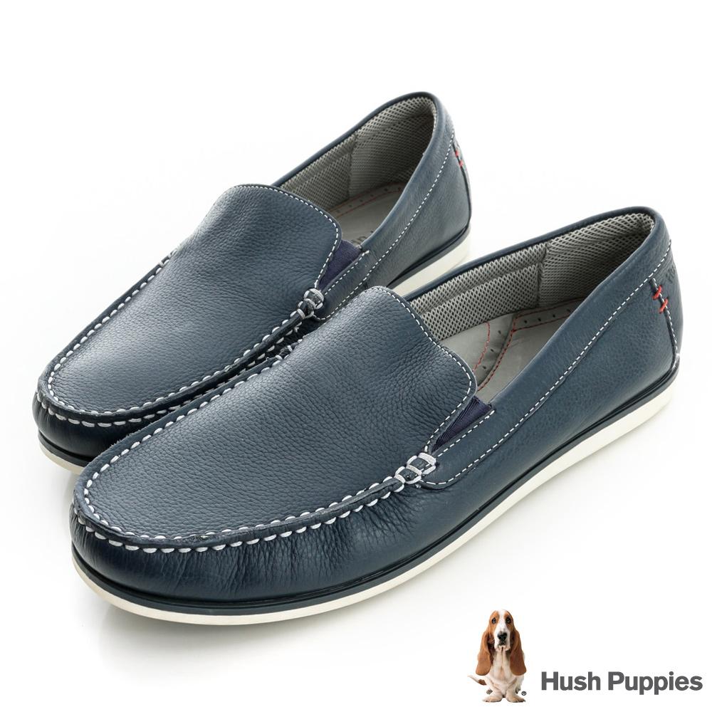 Hush Puppies 簡約時尚休閒莫卡辛鞋-深藍