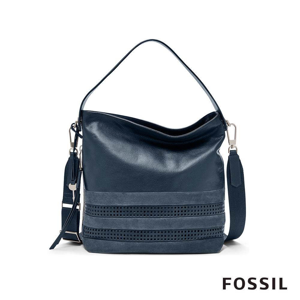 FOSSIL MAYA 格紋柔軟真皮水餃包-深海藍