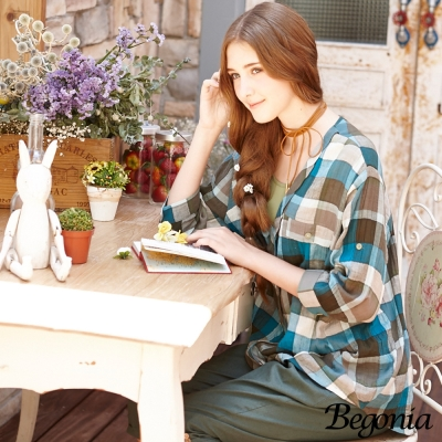 Begonia 假兩件格紋剪裁雪紡棉麻上衣(共二色)