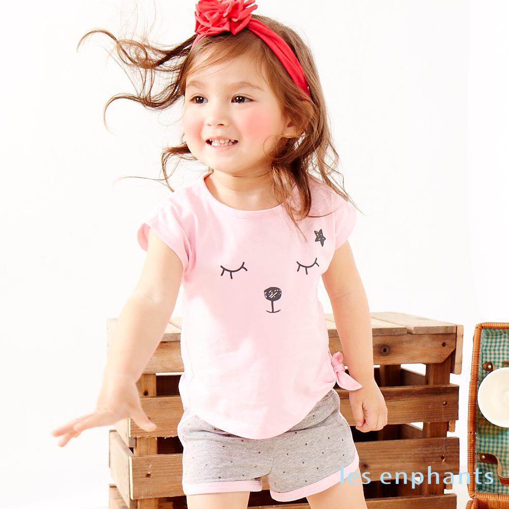 麗嬰房les enphants俏皮小熊運動女孩上衣褲子二件組粉色