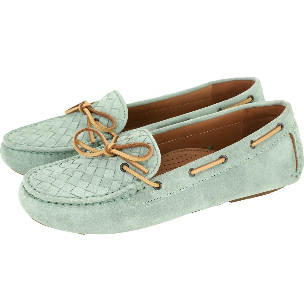 BOTTEGA VENETA 麂皮編織綁帶莫卡辛鞋(綠色)