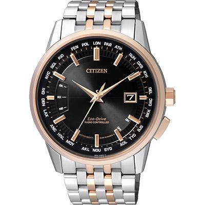 CITIZEN 光動能萬年曆電波錶(CB0156-66E)-黑x雙色版/43mm