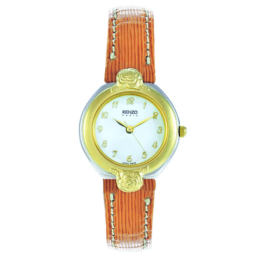 KENZO 玫瑰之戀氣質腕錶-米白/25mm(福利品)
