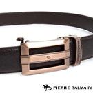 PB-皮爾帕門-經典方框簍空Logo玫瑰金款-頭層牛皮自動扣皮帶-855