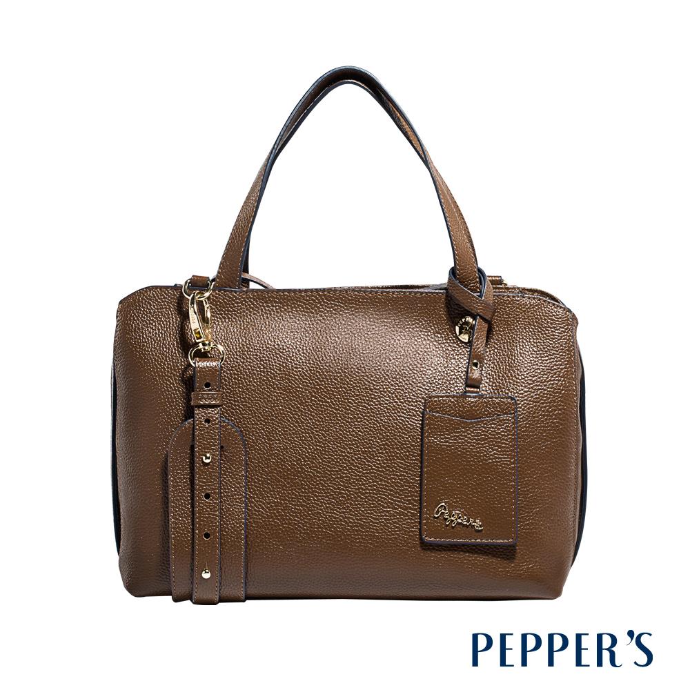 PEPPER`S  Marley 牛皮拉鍊方塊包 (L) - 摩卡棕