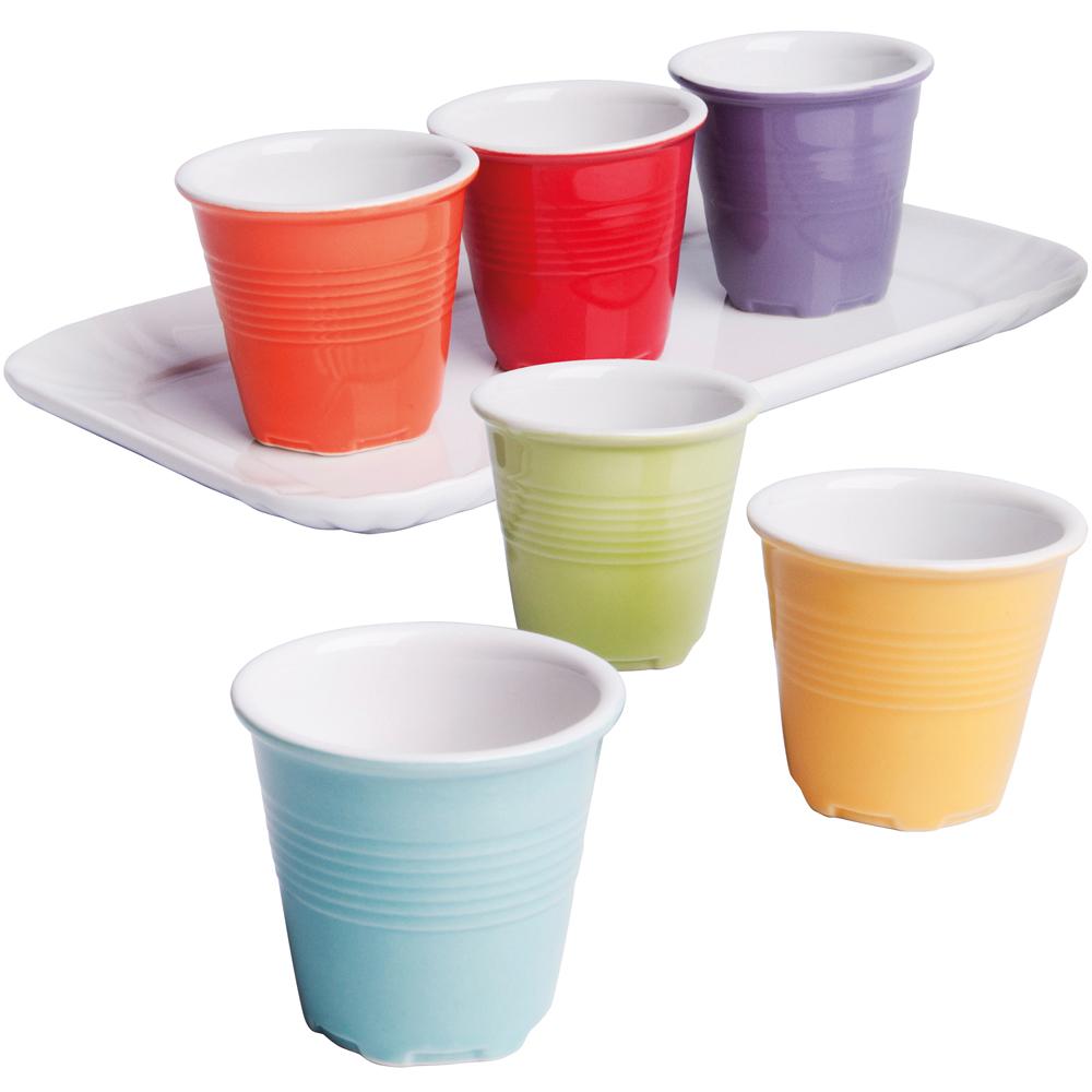 EXCELSA 托盤+陶製咖啡杯6件(60ml)