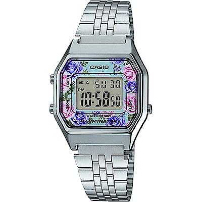 CASIO 卡西歐Digital 玫瑰物語電子錶-銀(LA-680WA-2CDF)
