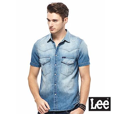 Lee 牛仔短袖襯衫-男款-藍