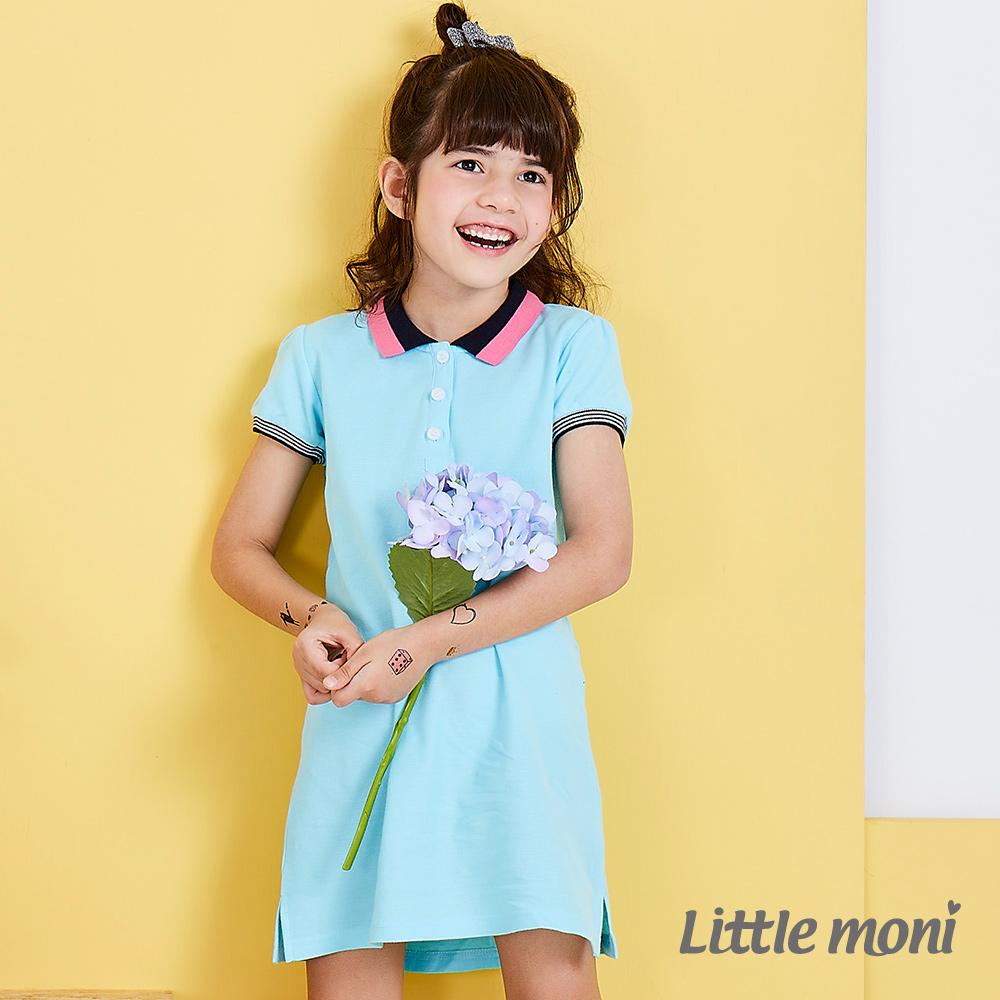 Little moni 甜美俏麗女孩POLO洋裝 亮天藍