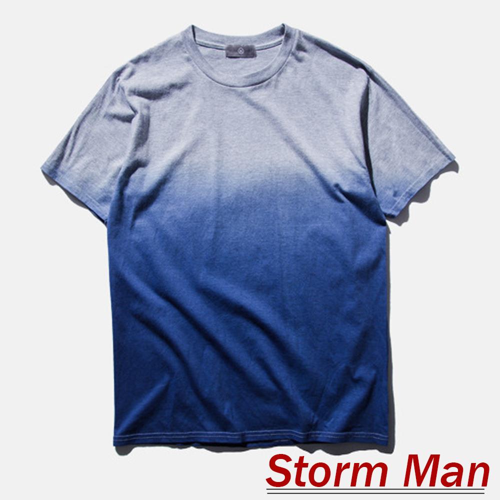 清新簡約無印花漸層純棉短袖上衣 (共三色)-Storm Man
