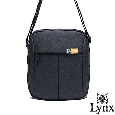 Lynx - 山貓質男防撥水休閒直式斜背包-黑