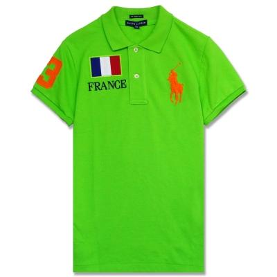 Ralph Lauren 大馬法國國旗棉質女POLO衫(綠)