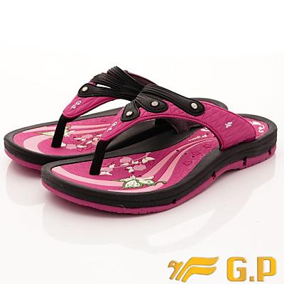GP時尚涼拖-排水夾腳拖鞋款-SI882W-15黑桃粉(女段)