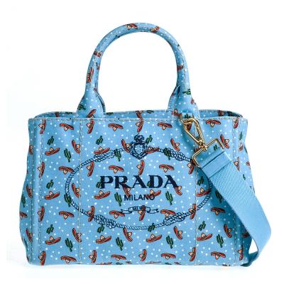 PRADA CANAPA系列可愛仙人掌圖騰帆布兩用提包 (小/淺藍底)